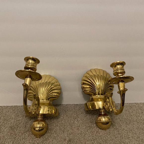 Pair of Vintage Brass Shell Candleholders